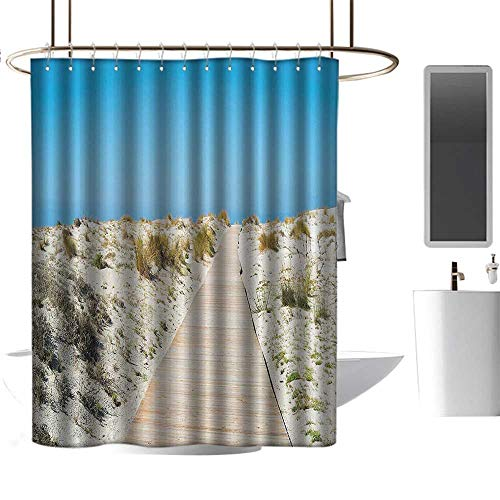 (Polyester Fabric Shower Curtain Seaside Decor Collection Footpath on Le Dune Beach in South of Sardinia Island Italian Style Peaceful Calm Hours W72 xL84)