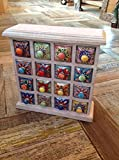 GORGEOUS 16 DRAWER HAND PAINTED CERAMIC LIMED MANGO WOOD SPICE CHEST - FAIR TRADE by Second Nature Online
