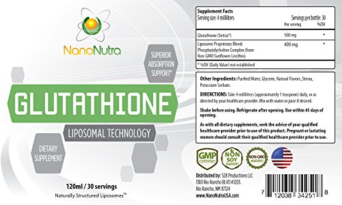 Liposomal Glutathione Antioxidant- by NanoNutra 500mg NON GMO NON SOY quotSetriaquot Liquid Glutathione Supplement Natural Anti Aging Liver Detox Support Immune System Booster Product 30 Servings Discount