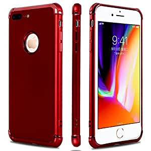 iPhone 7 Plus Case,iPhone 8 Plus Case,Casegory 3 in 1 Ultra Thin Slim Fit Reinforced Corner Soft Silicone TPU Shockproof Protective Bumper iPhone 7 Plus Phone Case- Shiny Red
