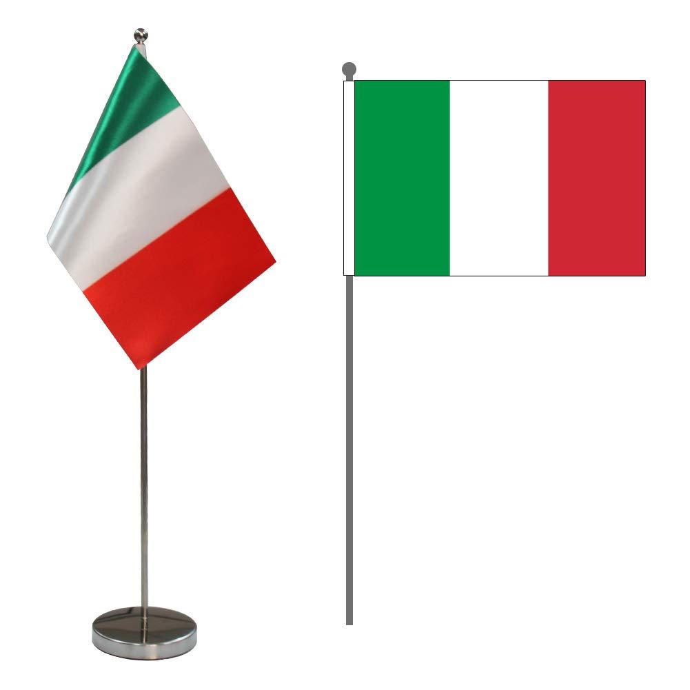 Bandiera da Tavolo UE 9 x 6 Set di Piccola Bandiere Unione Europea con Stelle Blu Comprende Pennone e Base