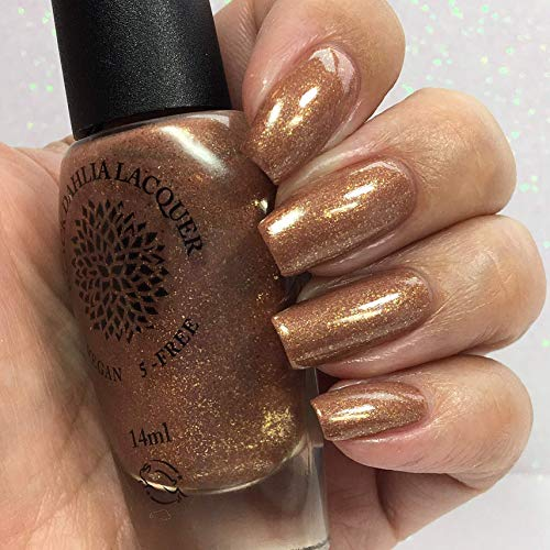 Metal Petals | Molten Copper Chrome Shimmer Nail Polish with Flakies | By Black Dahlia Lacquer
