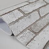 "yazi Gray Stacked Brick Texture Wallpaper Rustic Self Adhesive Vinyl TV Background Wall Paper Roll 17.7""x393.7"""