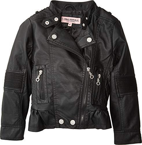 Urban Republic Kids Girl's Alice Faux Leather Moto Jacket w/Ribbed Elbow Peplum (Little Kids/Big Kids) Black 10/12 from Urban Republic Kids