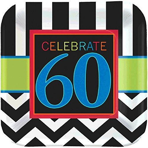 Must-Have Chevron and Stripes 60th Birthday Party Square Dessert Plates Tableware, Pack of 8, Multi , 7