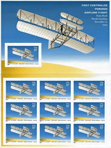 2003 First Controlled Flight of The Wright Brothers Sheet of 10 x 37 Cent Stamps Scott 3783 By USPS Wright Brothers First Powered Flight