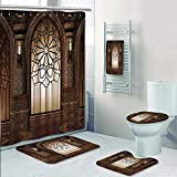 AmaPark 5 Piece Bath Rug Set,Collection Illustration of Antique Myst Gate with Oriental Islamic Pattern and Curvings Artistic Print Bathroom Rugs Shower Curtain/Rings and Both Towels
