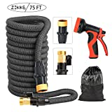 Deluxe Expandable Garden Watering Hose - Zikke Imported 3-Layer Latex Tube, 75ft, Brass Fittings, 9 Multiple Spray Patterns Gun, USA Standard, Kink Free, Easy Storage, Expanding Flexible