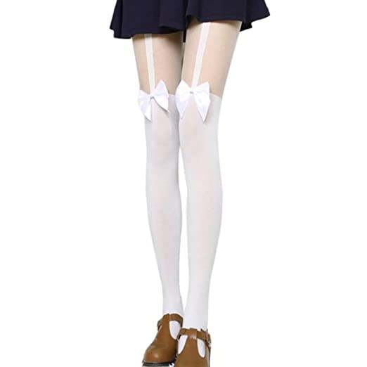 6eef0bd62 Bornbayb Women s Exclusive Classic Faux Garter Tights Fake-it Thigh High  Pantyhose with Bows at Amazon Women s Clothing store