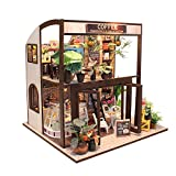 ASIDIY 3D Wooden Miniature DIY Coffee House Kit with Furniture,1:24 DIY Dollhouse Kit for Kids & Valentine's Day(Dust Proof Included)
