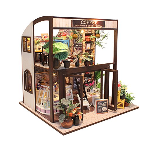 ASIDIY 3D Wooden Miniature DIY Coffee House Kit with Furniture,1:24 DIY Dollhouse Kit for Kids & Valentine's Day(Dust Proof Included) by ASIDIY