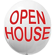 LuftBalloons 17 Inch White with Red Open House Balloon Gizmo