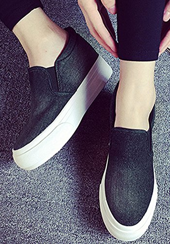 VECJUNIA Ladies Letter Platform Elastic Chunky Concealed Wedge High Top Canvas Sneakers Black rzH3U