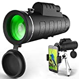 BOQXIN Monocular Telescope, 40x60 High Powered Monocular Scope with Phone Adapter and Tripod, Waterproof BAK4 Prism FMC Lens Single Hand Focus for Bird Watching, Hunting