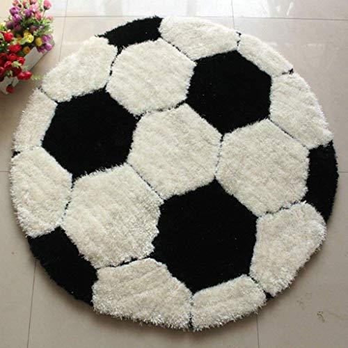 LCTCDT Children's,Super Soft Super Thick Elastic Gauze Plus Superfine Soccer Carpet Boys Kids Room Round (Color : Football, Size : Diameter 101CM)