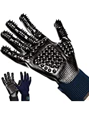 Pacific Husky Pair Of Pet Grooming Gloves - Gentle Deshedding Brush Glove with Soft Rounded Nubs & Adjustable Wrist Strap – Flexible Mitts For Deshedding, Bathing, Massaging & Hair Removal (Black - Navy Blue) (S, Blue)
