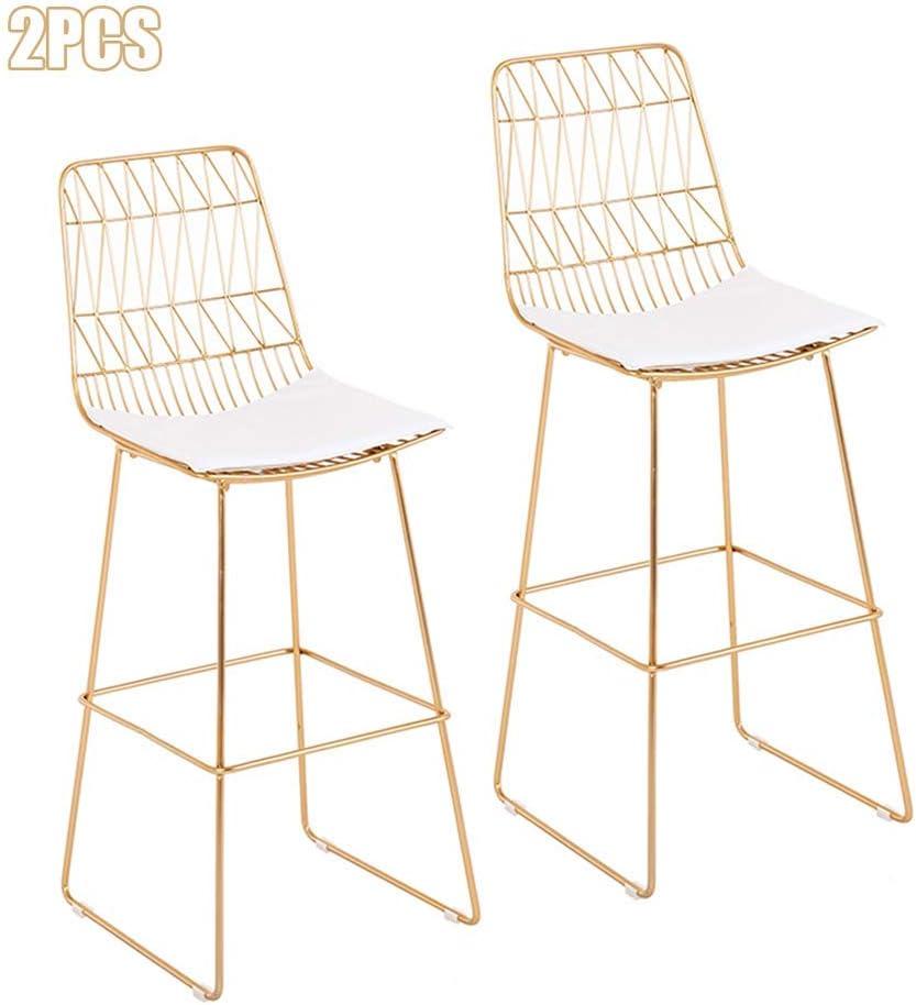 2 PSC/4 STKS Pub Bar Hoogte Barkruk, Moderne Hedendaagse Eetstoelen met Witte Kunstleer Seat en Metalen IJzeren Rugleuning - Zithoogte 65/75 cm - [Set van 2, Set van 4] 2 stuks.
