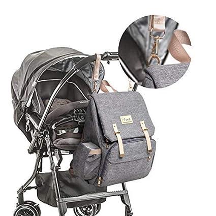 Baby Wickelrucksack Wickeltasche mit Wickelunterlage Multifunktional Oxford Gro/ße Kapazit/ät Babytasche Reisetasche f/ür Unterwegs Grau