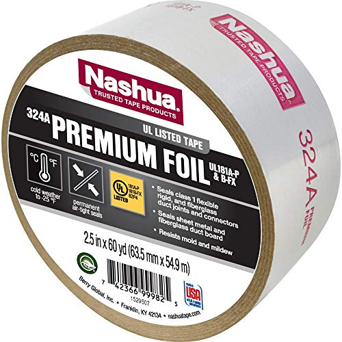 Weather Foil Tape - Nashua Duct Tape Foil Air Professional 4.8 Mil 60 Yd. Aluminum Meets Ul 181 Silver
