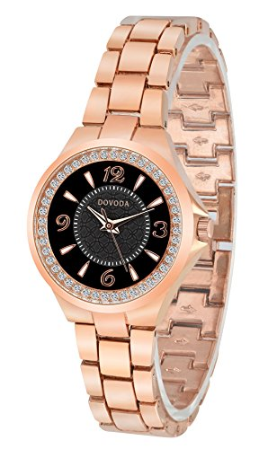 DOVODA Womens Watches Fashion Black Small Face Diamond Rose Gold Stainless Steel Bracelet Dress (Black Small Watch)
