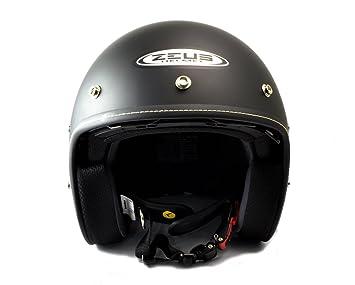 Amazon.es: ZEUS - Casco Custom Negro Mate con pantalla solar y visera (L)