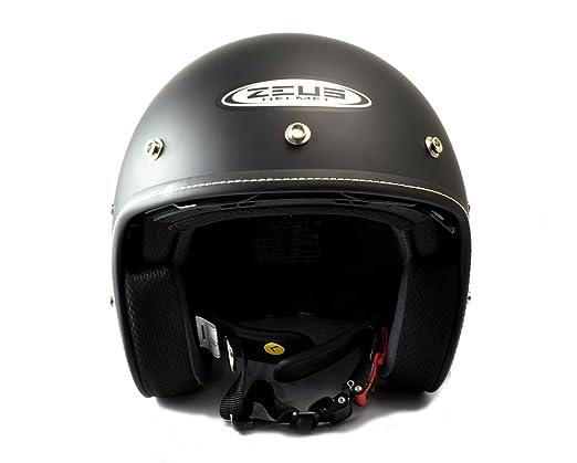 Amazon.es: ZEUS - Casco Custom Negro Mate con pantalla solar y visera (M)