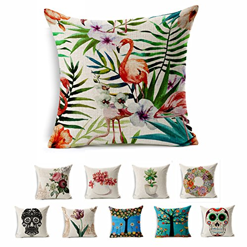 100% Natural Cotton Linen Decorative Tropical Plants Printed Throw Pillow Cover Square Shams Cushion Case Set of 1 Hidden Zippered for Sectional Sofa Bed Couch and Chair Fit 18x18 Inserts (Sectional Square Sofa)