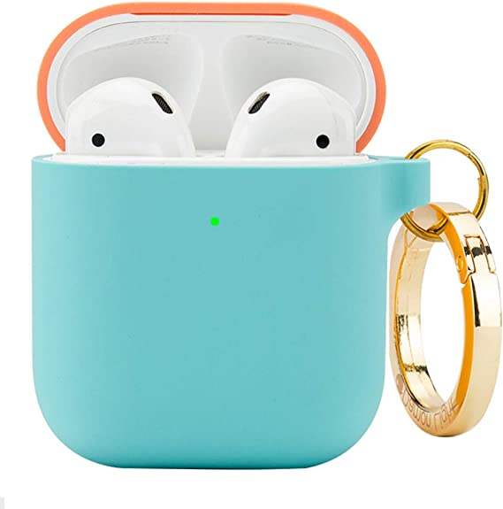 DamonLight Premium Silicone Airpods Case with Keychain [Front LED Visible][with no Hinge] Full Protective Cover Skin Compatible with Apple Airpods 1&2 (Pink+Ice Blue) best AirPods case