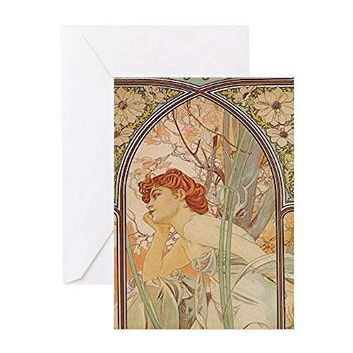 CafePress Mucha Art Nouveau In The Garden Greeting Cards Greeting Card, Note Card, Birthday Card, Blank Inside Matte