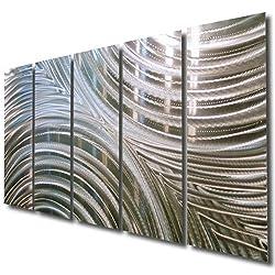 Giant Silver Metal Wall Sculpture - Metal Wall Art, Silver Wall Decor - Contemporary, Modern Silver Metal Wall Art Home Decor Accent - Synchronicity By Jon Allen - 64 x 24