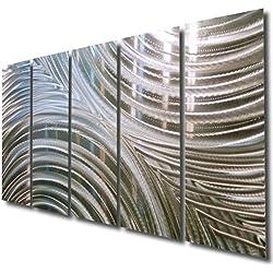 "Giant Silver Metal Wall Sculpture - Metal Wall Art, Silver Wall Decor - Contemporary, Modern Silver Metal Wall Art Home Decor Accent - Synchronicity By Jon Allen - 64"" x 24"