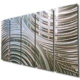 Giant Silver Metal Wall Sculpture - Metal Wall Art, Silver Wall Decor - Contemporary, Modern Silver Metal Wall Art Home Decor Accent - Synchronicity By Jon Allen - 64'' x 24