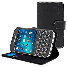 Classic Case, Snugg Leather Leather Flip Case [Card Slots] Executive BlackBerry Classic Wallet Case Cover and Stand [Lifetime Guarantee] - Legacy Series