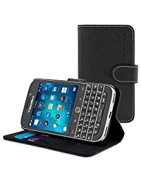 BlackBerry Classic Case, Snugg™ - Black Leather Wallet Case Cover [Lifetime Guarantee] for BlackBerry Classic