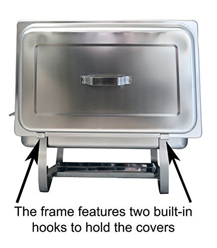Tiger Chef 8 Quart Full Size Stainless Steel Chafer with Folding Frame and 2 Half Size Chafing Dishes Food Pans and Cool-Touch Plastic Handle on Top by Tiger Chef (Image #2)