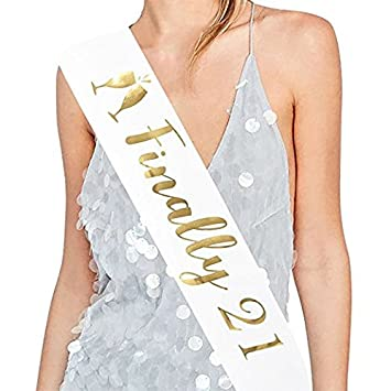 Birthday Girl Sash White and Gold - 21st Birthday for Women - Happy  Birthday Party Favors - Supplies and