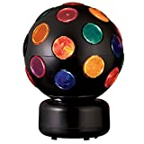 Catalina Lighting 17793-003 Multi-Colored Spinning Disco Ball, 8'' x 8'' x 11'', Black