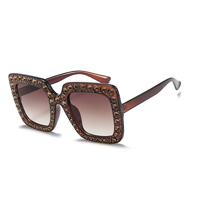 a5cf754028db MINCL Oversized Diamond s Women Handmade Square Glasses Frame Eyewear 67mm  UV400 (brown