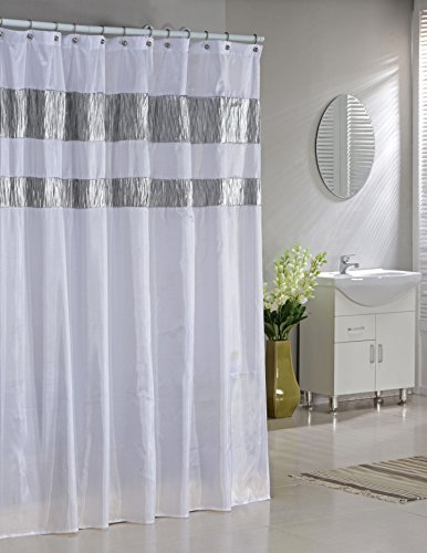 Faux Silk Fabric Shower Curtain Shimmering Metallic Accents White