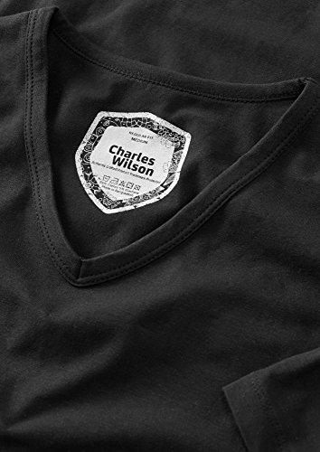 Charles Wilson Confezione da 4 T-Shirt da Uomo Elasticizzate con Scollo a V in Elastan