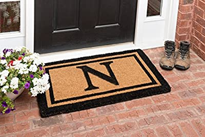 YourOwn Double Black Frame Monogrammed Welcome Coir Mat, 22-Inch by 36-Inch, Any Letter