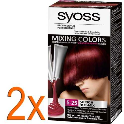 2 x syoss mixing colours cherry red 5 25 bases and fashion tone gray - Syoss Coloration Prix