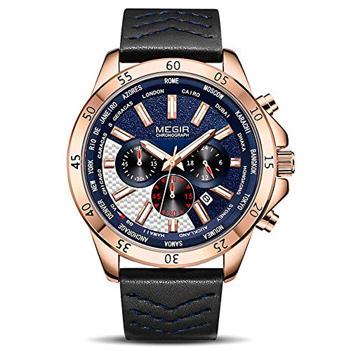 MEGIR Men's Analogue Army Military Chronograph Luminous Quartz Watch with Stylish Luxury Leather Strap for Sport & Business Work ML2103GREBK-2N0 - Military Chronograph Pilot Watch