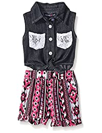 Limited Too Girls' Denim Sleeveless Top and Patterned Short Romper