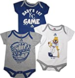 "Kansas City Royals 3pc Creeper Bodysuit Set Infant Baby ""Small Fan"""
