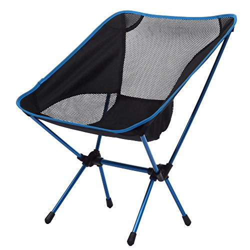 ANCHEER Ultralight Aluminium Alloy Outdoor Camping Chair Folding Compact Ground Chair Seat Breathable Net Stool for Outdoor Beach Gardening Fishing Hiking Picnic
