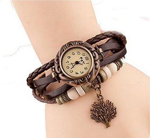 Hosaire Watch Bracelet Vintage Multilayer Weave Wrap Around Leather Chain Bracelet Quartz Wrist Watch with Tree Pendant for Women Men White by Hosaire (Image #8)