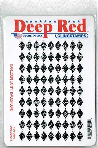 Deep Red Harlequin Script Rubber Cling Stamp