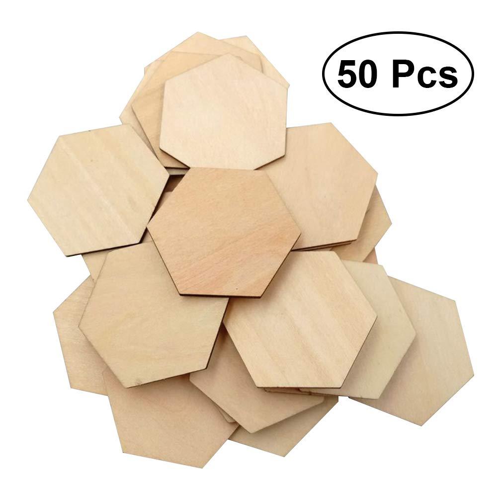 Healifty Beech Wooden Hexagonal Pieces DIY Crafts Painting Decorations 50Pcs 40MM