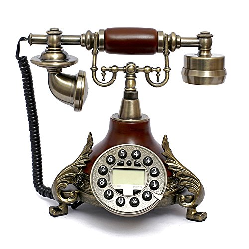 LNC Retro Vintage Antique Style Push Button Dial Desk Telephone Phone Home Living Room Decor (Style Telephone)